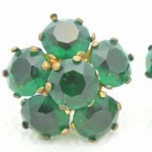 Gold Vermeil Sterling Marked Large Green Earrings